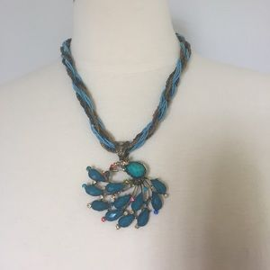 Blue Pendant Necklace & Twisted Ribbon/Bead Chain